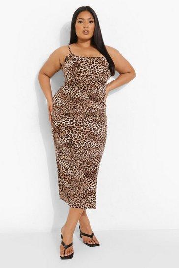 Plus Woven Leopard Midaxi Slip Dress