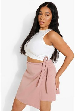 Rose pink Plus Wrap Tie Skirt