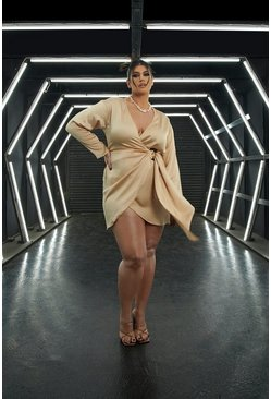 Champagne beige Plus Satin Wrap Shirt Style Dress