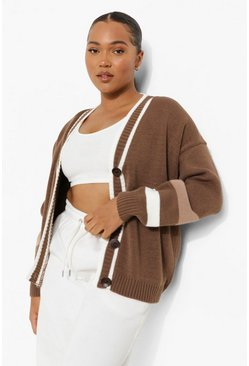 Plus Stripe Colour Block Cardigan , Mocha beige