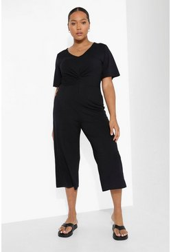 Black Plus Rib Twist Front Culotte Jumpsuit