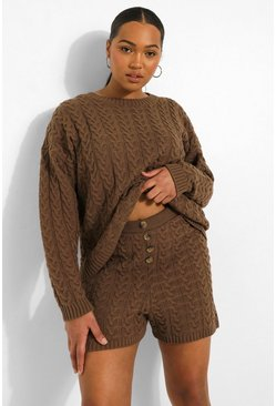 Taupe beige Plus Cable Knit Button Short Set