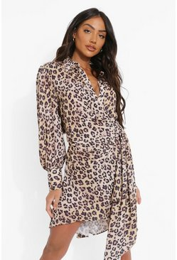 Plus Statement Draped Leopard Shirt Dress