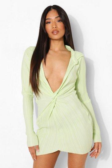 Lime green Petite Plisse Twist Front Mini Dress