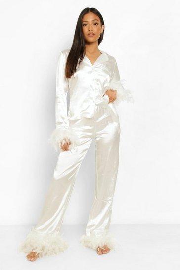 Ivory white Petite Feather Trim Pj Trouser Set
