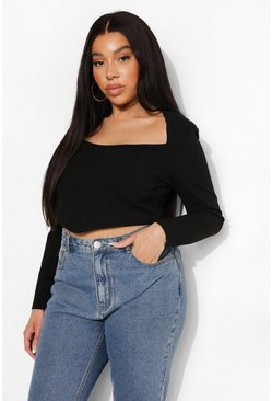 Plus Square Neck Corset Top, Black negro