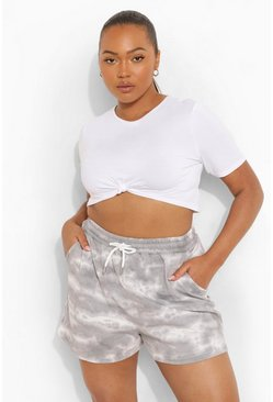 Grey Plus Tie Dye Loopback Runner Shorts