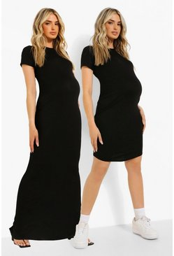 Black Maternity Maxi And Mini 2 Pack Dresses