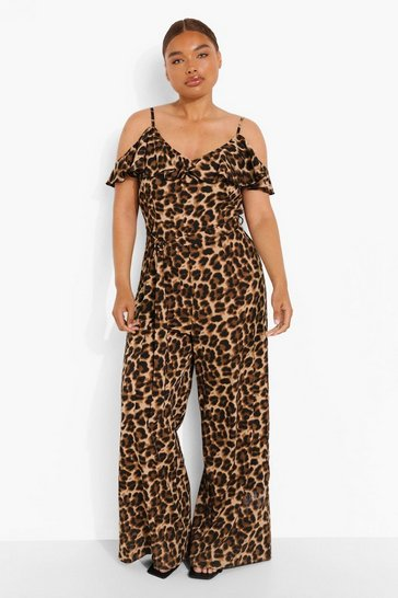 Leopard multi Plus Woven Frill Cold Shoulder Jumpsuit