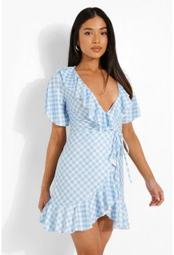 Blue Petite Gingham Ruffle Wrap Deress