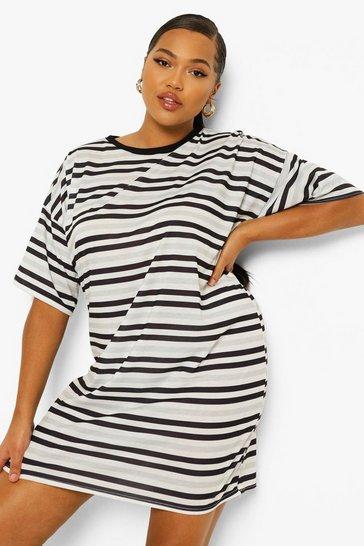 Black Plus Stripe T Shirt Dress