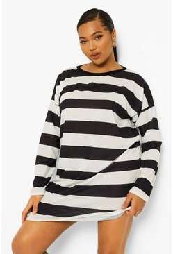 Black Plus Stripe Long Sleeve T Shirt Dress
