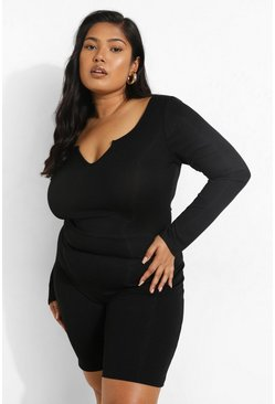 Black Plus Rib Notch Front Long Sleeve Unitard