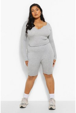 Grey Plus Rib Notch Front Long Sleeve Unitard