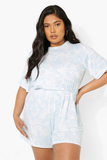 Light blue blue Plus Tie Dye Playsuit