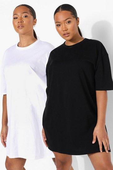 Black Plus 2 Pack T-shirt Dresses