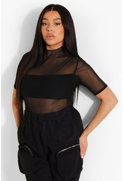 Plus High Neck Under Layer Bodysuit , Black negro