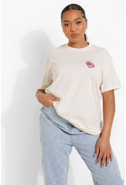 Ecru white Plus Wifey Heart Pocket Print T-shirt