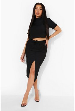 Plus High Neck Crop Tee & Mini Skirt Co-ord, Black negro