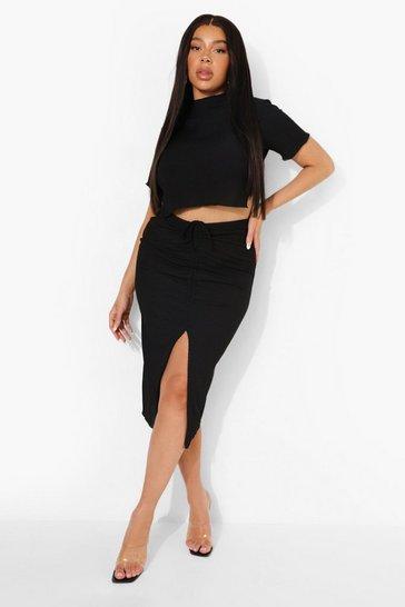 Black Plus High Neck Crop Tee & Mini Skirt Co-Ord