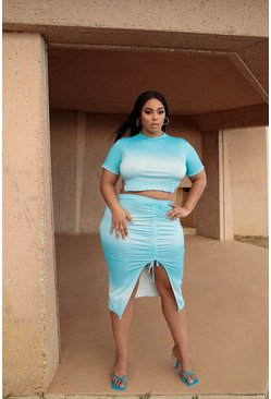 Blue Plus High Neck Crop Tee & Mini Skirt Co-ord
