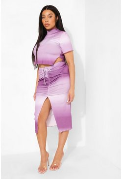 Lilac purple Plus Kort T-Shirt Met Hoge Hals En Mini Rokje Set