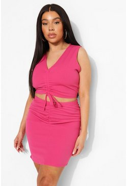 Plus Ruching Skirt Co-ord, Pink rosa