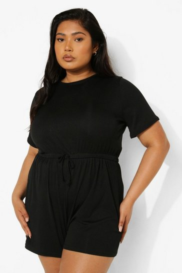 Black Plus Rib Tie Waist Playsuit