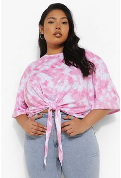 Pink Plus Tie Dye Graphic Back Tie Front T-shirt
