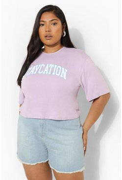 Lilac purple Plus Staycation Slogan Cropped Tee