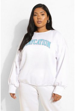 White Plus Staycation Slogan Sweat