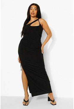 Black Plus One Shoulder Ruched Side Maxi Dress
