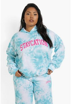 Blue blå Plus - Staycation Batikmönstrad hoodie