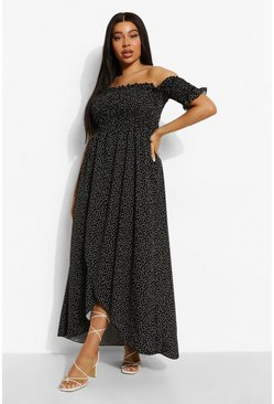 Rust  Plus Polka Dot Off Shoulder Maxi Dress