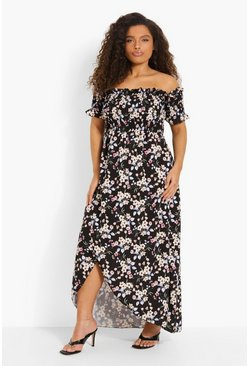 Black Plus Floral Off Shoulder Maxi Dress