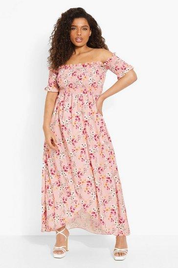 Pink Plus Floral Off Shoulder Maxi Dress