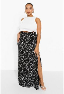Black Plus Ditsy Floral Button Through Maxi Skirt