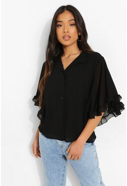 Black Petite Woven Ruffle Angel Sleeve Blouse
