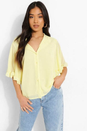 Yellow Petite Woven Ruffle Angel Sleeve Blouse