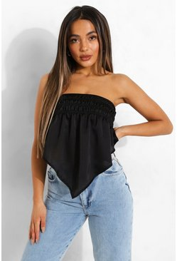Black Petite Shirred Bandeau Woven Scarf Top