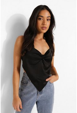 Black Petite Ruched Front Tie Back Satin Scarf Top