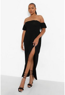 Black Plus Jersey Split Wrap Maxi Skirt