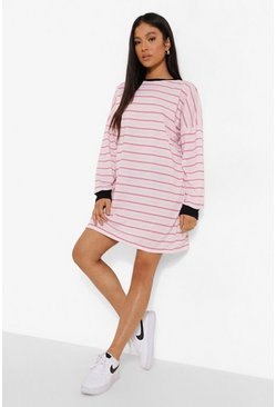 Pink Petite Stripe Oversized T-shirt Dress