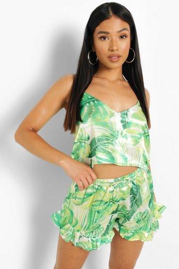 Green Petite Tropical Print Flippy Pj Short Set