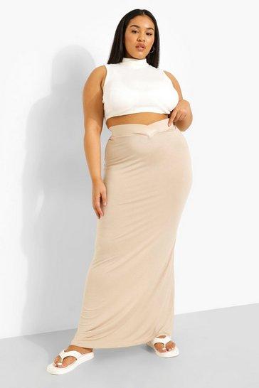 Stone beige Plus Jersey V Waistband Maxi Skirt