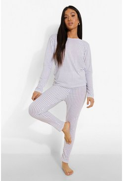 Grey marl grey Petite Stripe Top + Legging Pj Set