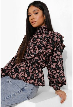 Petite Floral Print High Neck Top, Black schwarz
