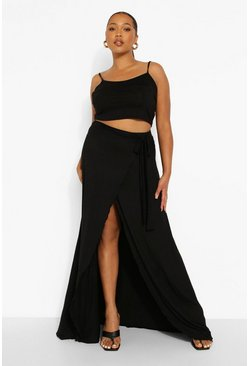 Black Plus Wrap Tie Maxi Skirt