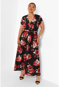 Black Plus Floral Wrap Cap Sleeve Maxi Dress