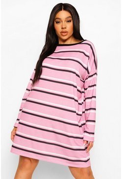 Pink Plus Stripe Long Sleeve T Shirt Dress